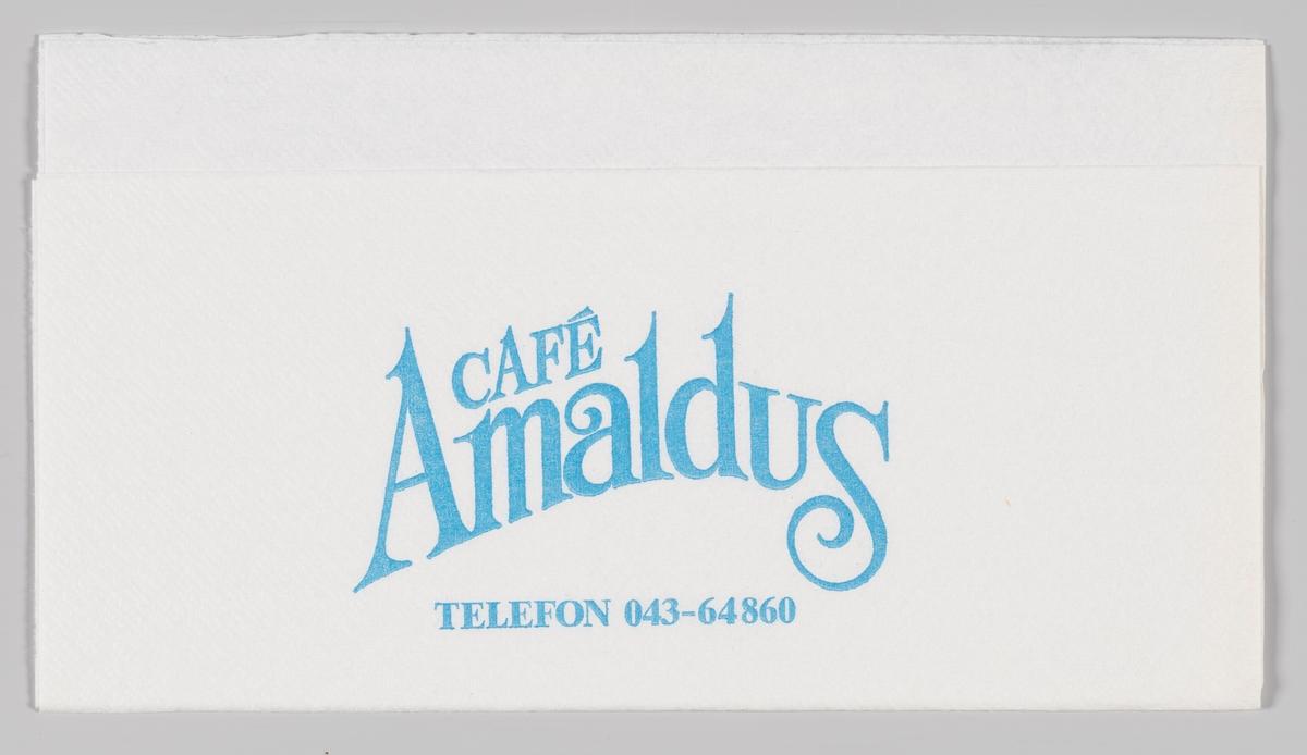 En reklameteskt for Cafe Amaldus.