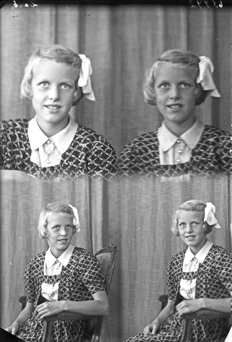 Portrett. Ung lyshåret pike med sløyfe i håret. Ikledd forskjellige to typer klær. To piker på første foto. Bestilt av Sigrid Pedersen. Salhusveien 83.