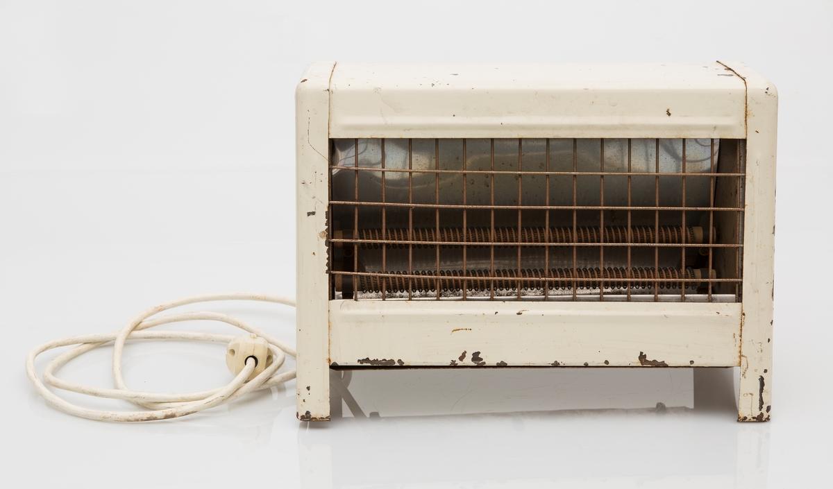 Elektrisk varmeovn, stråleovn i hvitlakkert jern. Ny kabel og nytt støpsel.