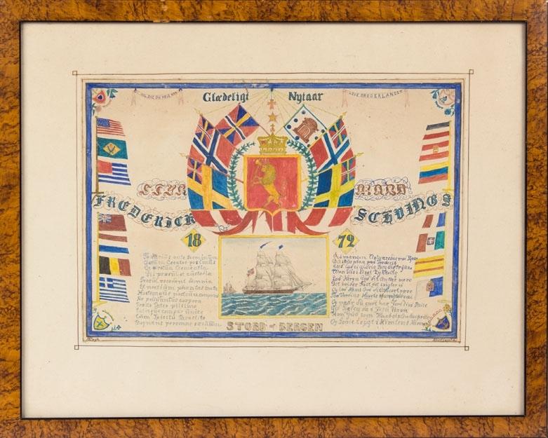 Nyttårshilsen datert 1872 med motiv av briggen STORD ført av Fredrik H. Schwerings.  Dekorert med mange flagg fra norden og verden og Norges riksvåpen med kronet løve.   Utført av matros H. Engh som nyttårshilsen til kapteinen.