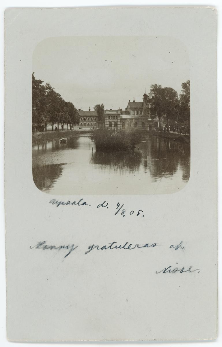 Brevkort - Svandammen och Vattenledningsverket, idag Pumphuset, Uppsala före 1901