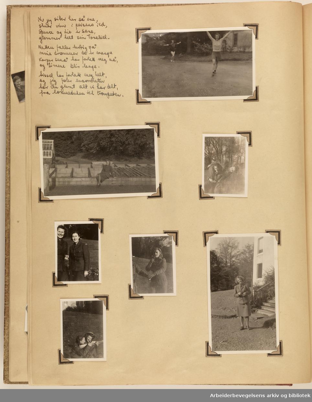 Album laget av Sissel Lie, senere Bratz (1922-1983). Foto og utklipp fra tiden hun tjenestegjorde i Den norske hærs kvinnekorps i Storbritannia under andre verdenskrig. Hun oppnådde graden fenrik i kontrolltjenesten. Side17: Ulike foto med hennes venner i Norske Hærs Kvinnekorps i hverdagslige situasjoner.