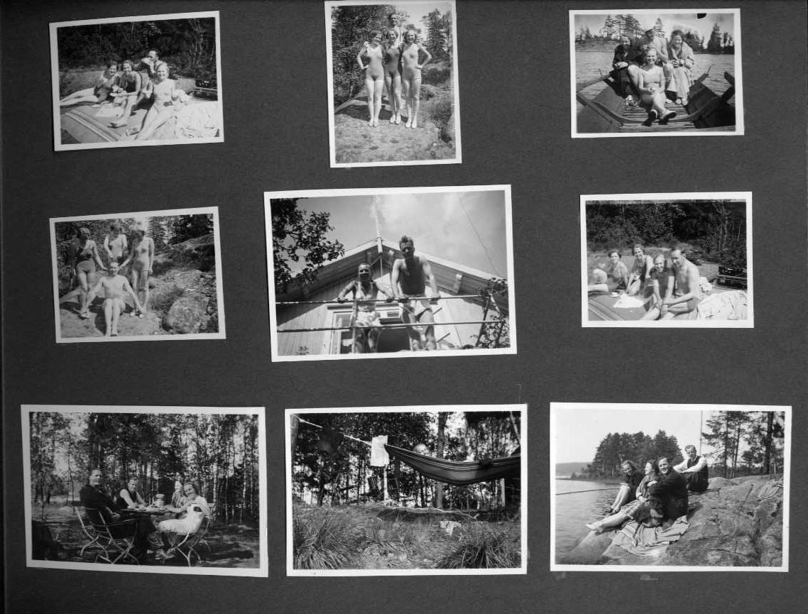 Porträtt och gruppbilder; scener från bad, fiske, skidåkning, skridskoåkning, hemmiljöer och utflykter.