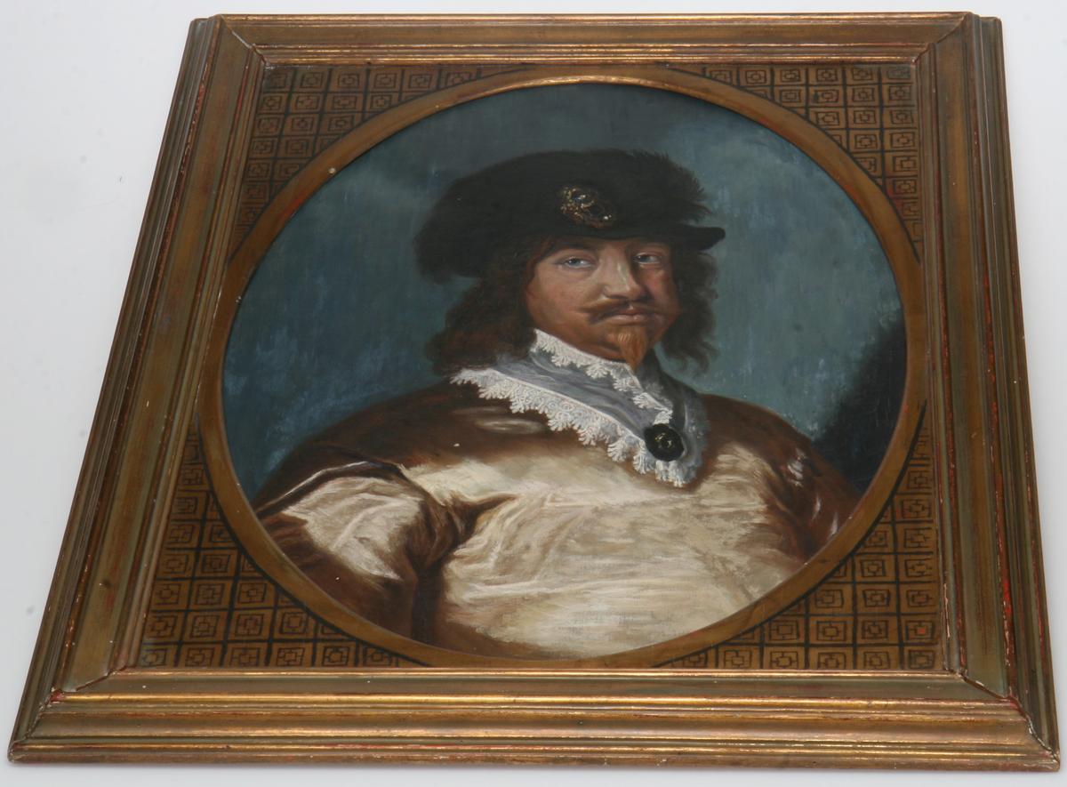 Olje på lerret, forgylt ramme, portrett av prins Christian V.