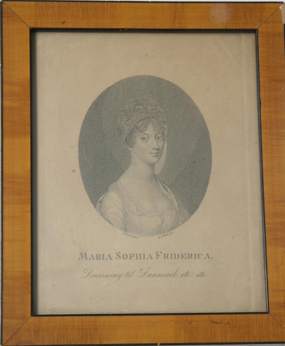 Glass, brun og sort ramme, portrett av dronning Sophia Frederica.