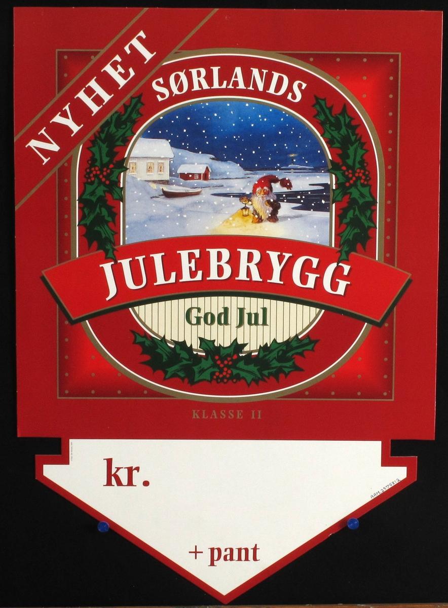 Sørlandsk kystlandskap m.fjøsnisse omkranset av laubærblad, tekst