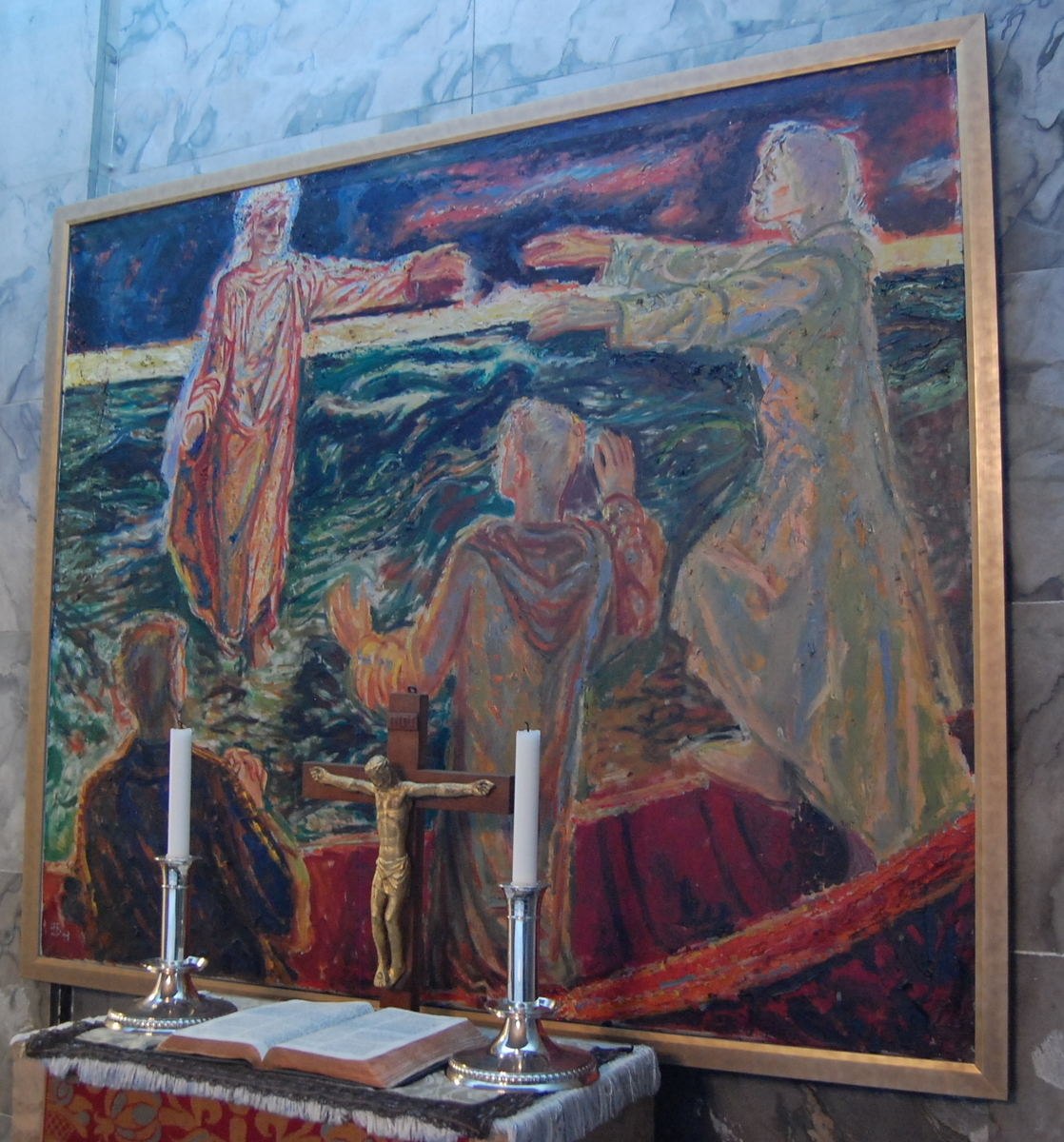 Motivet viser Kristus som går over Genesaret-sjøen.