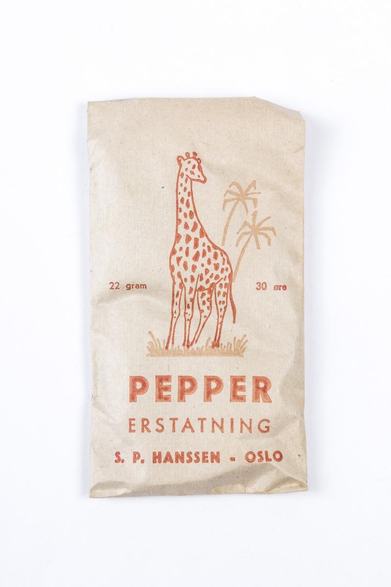 Uåpnet krydderpose med peppererstating.