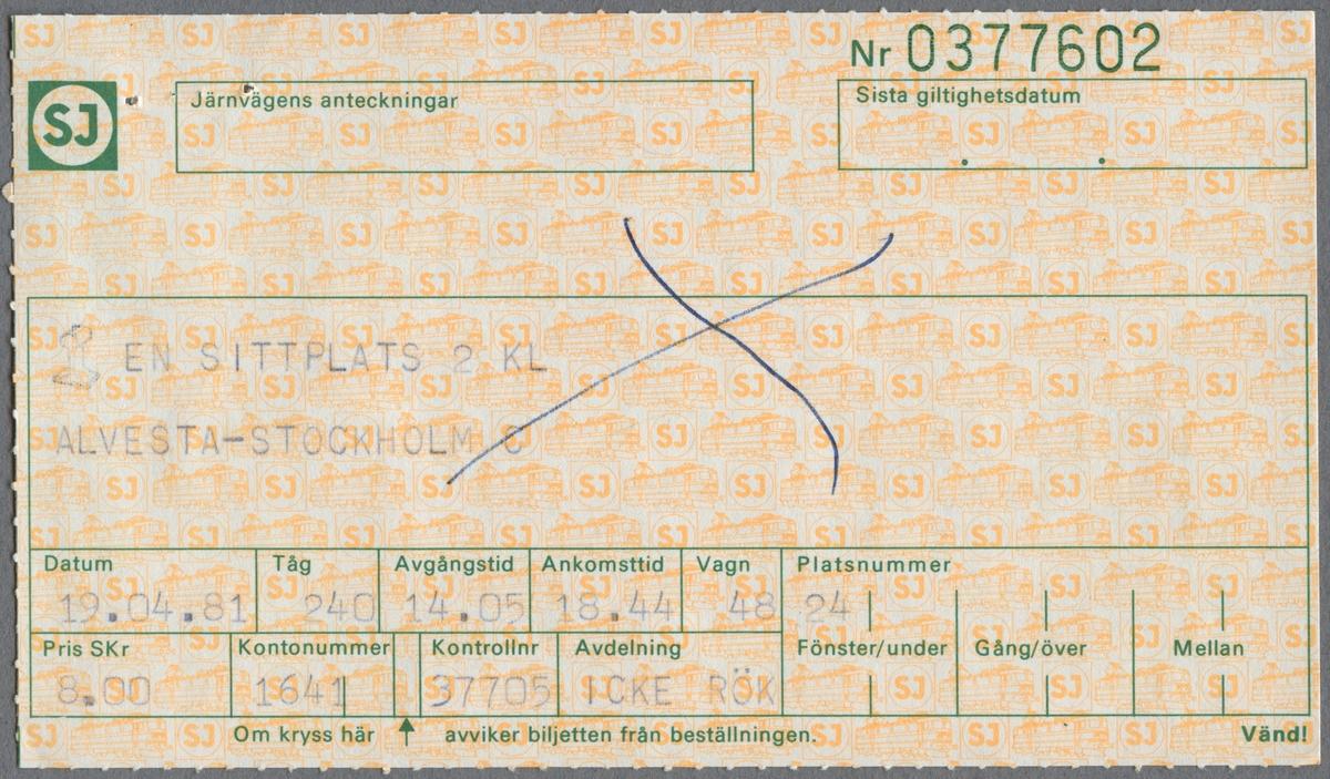 En sittplatsbiljett i 2:a klass med 100% rabatt, för sträckan Alvesta till Stockholm C. Avgångstiden är 09.05 och ankomsttiden är 13.44. Biljettens pris är 0 kronor. På baksidan finn reseinformation i grön text. Det andra bladet är ett bevis för avbeställning, en sittplats som är avbokad 1981-04-10 klockan 17.15. På baksidan finns reseinformation i grön text.  Det tredje bladet är en en sittplatsbiljett i 2:a klass för sträckan Alvesta till Stockholm. Med kulspetspenna är biljetten överkryssad. På baksidan finns reseinformation i grön text.