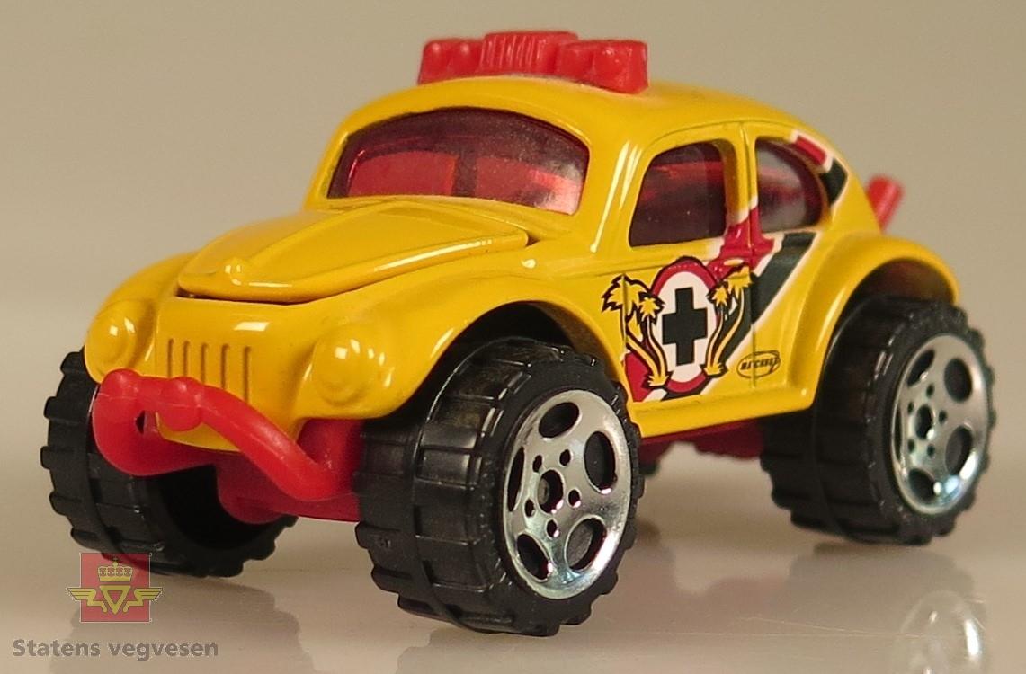 Samling av flere modellbiler. Alle er av samme produsent og produsert i lik tidslinje. 2 biler er gule, 3 biler er blå, 1 bil er hvit, 1 bil er grønn og 1 bil er brun. Alle er laget av metall og har en skala på 1:57