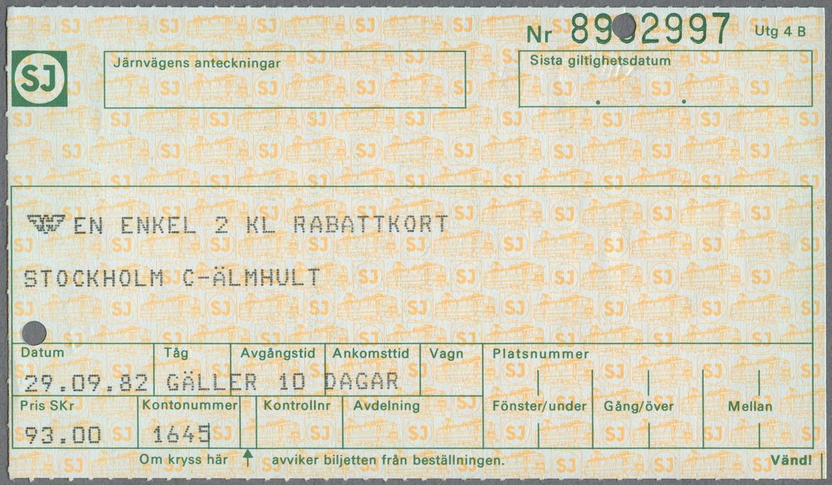 En enkelbiljett i andra klass med rabattkort för SJ tåg på sträckan Stockholm C - Älmhult. Biljetten var giltig i 10 dagar och kostade 93 kronor. På biljettens baksida finns resevillkor.