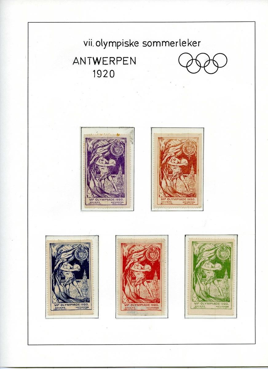 Albumside med 5 olympiske frimerker. Alle frimerkene har samme tekst og bilde, men med ulike farger. All frimerkene viser en diskoskaster med katedralen i Antwerpen i bakgrunnen. Frimerkene er i fargene fiolett, brun, blå, rød og grønn.