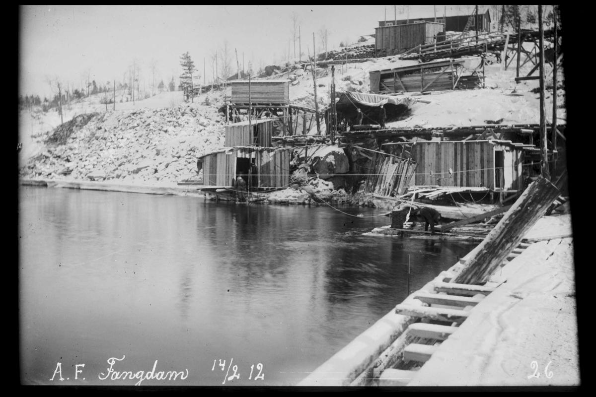 Arendal Fossekompani i begynnelsen av 1900-tallet CD merket 0470, Bilde: 7 Sted: Haugsjå Beskrivelse: Fangdam