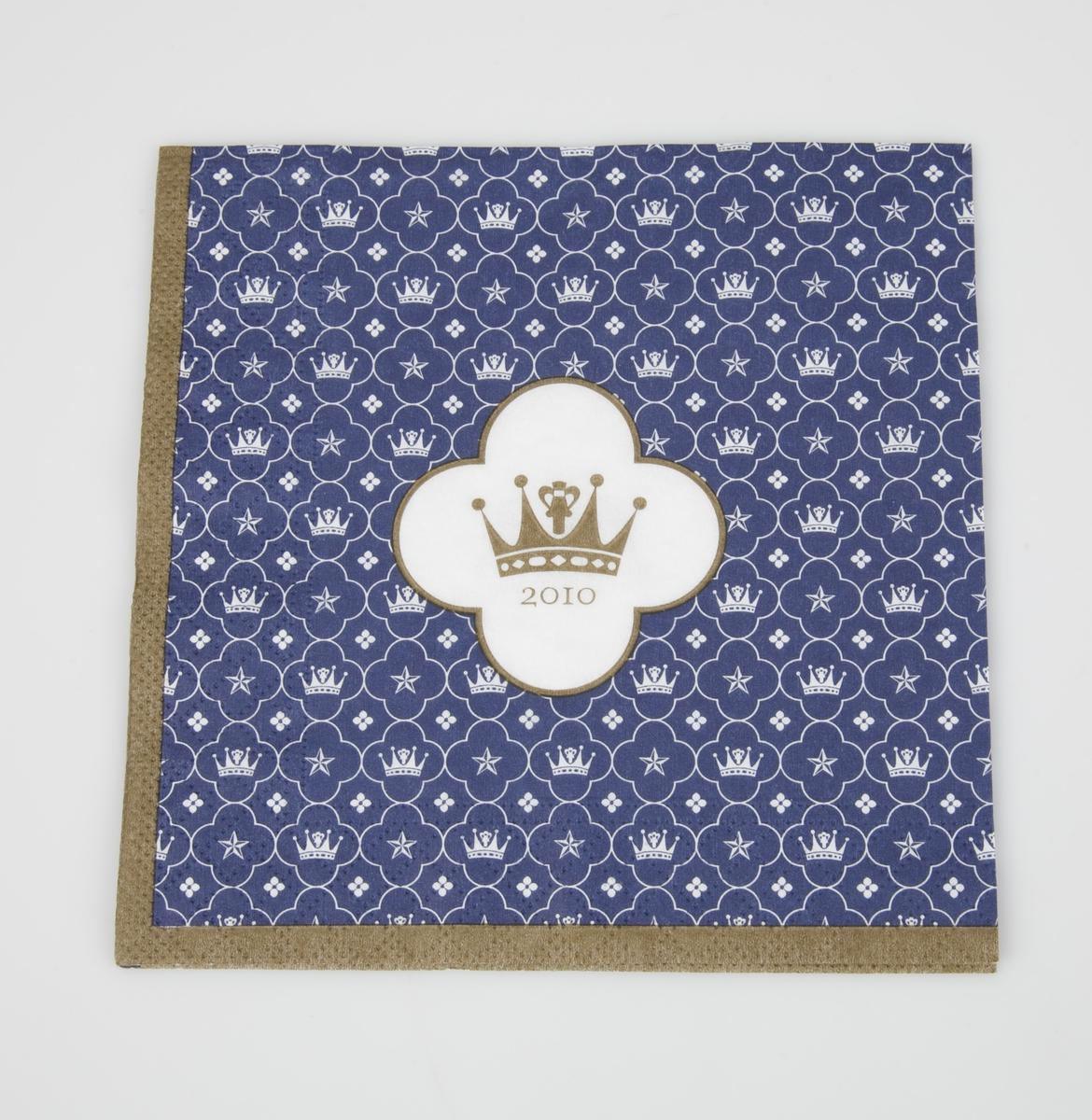 A og B er identiske: Motivet hentet fra Drotningholm slott. Stjerne, firbladet blomst og krone tegnet i hvitt mot en blå bunn. Midt på den kvarte delen er en firbladet hvit blomst med gullkanter og en krone i gull i midten.