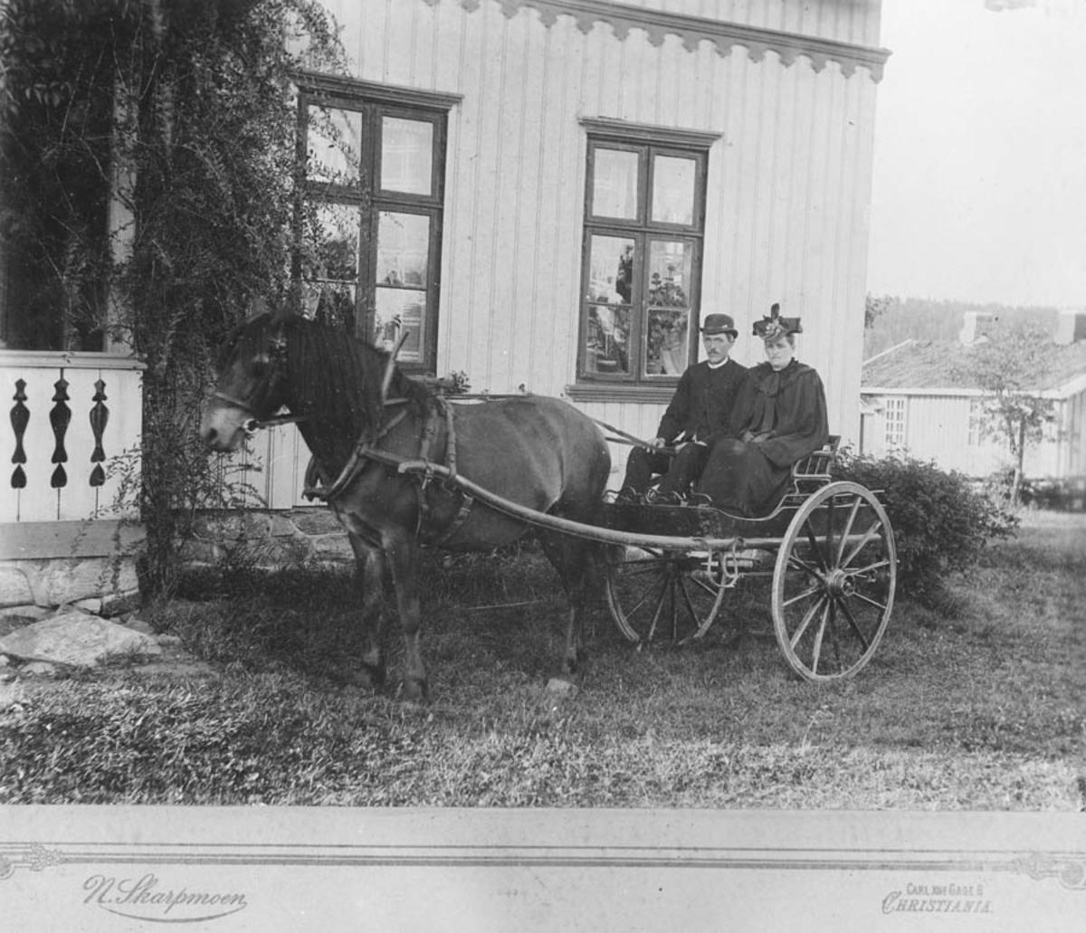 Anna og Kristian Mørk med hest og trille
