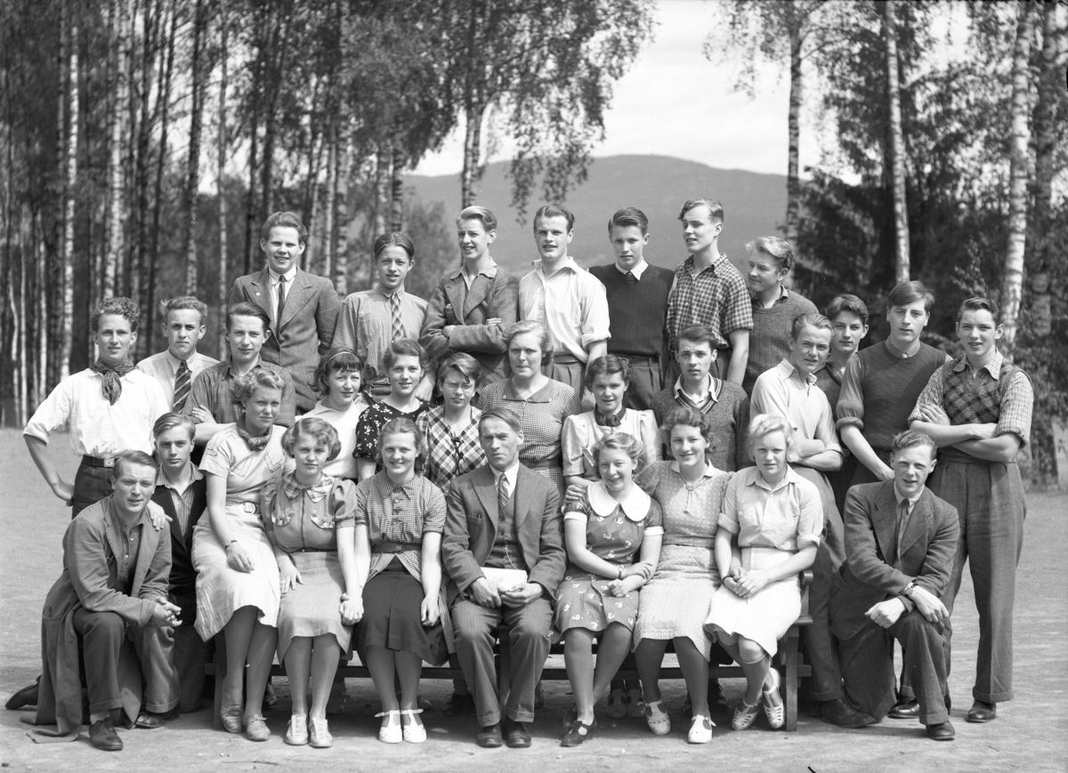 Skolebilde fra Eidsvoll Landsgymnas. Henrik Grimeland er lærer. 14.11.2013: Bildet vises her speilvendt. Åse Filseth (senere gift Myrvang) sitter her rett til venstre (egentlig høyre) for Grimeland. Ca 1938 Skrevet av: Amund Nedland