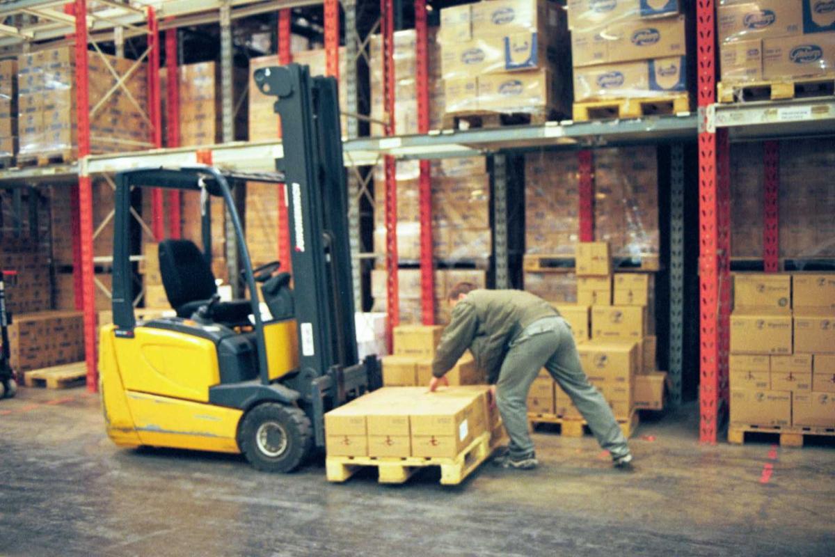 Lager, truck, paller, emballasje, arbeider, fabrikkmiljø
