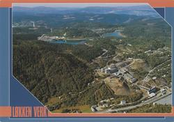 Postkort fra Løkken Verk med flyfoto av gruveanleggene fra A