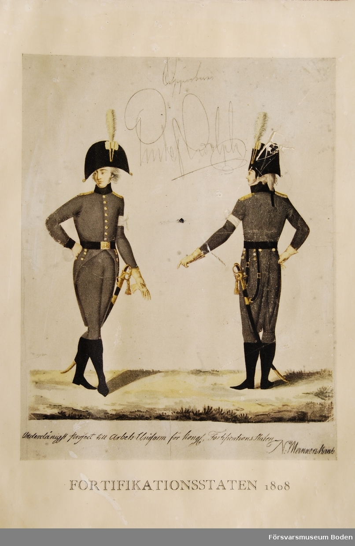 Visar uniformen från fram- och baksidan.