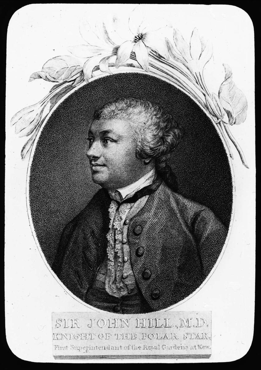 Sida ur skrift med ett porträtt av John Hill