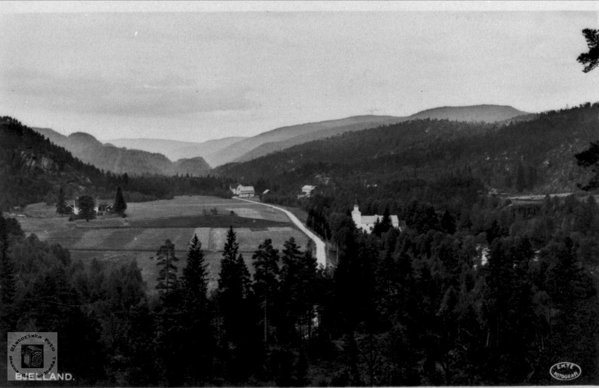 Utsikt over Bjelland fra Preståsen.