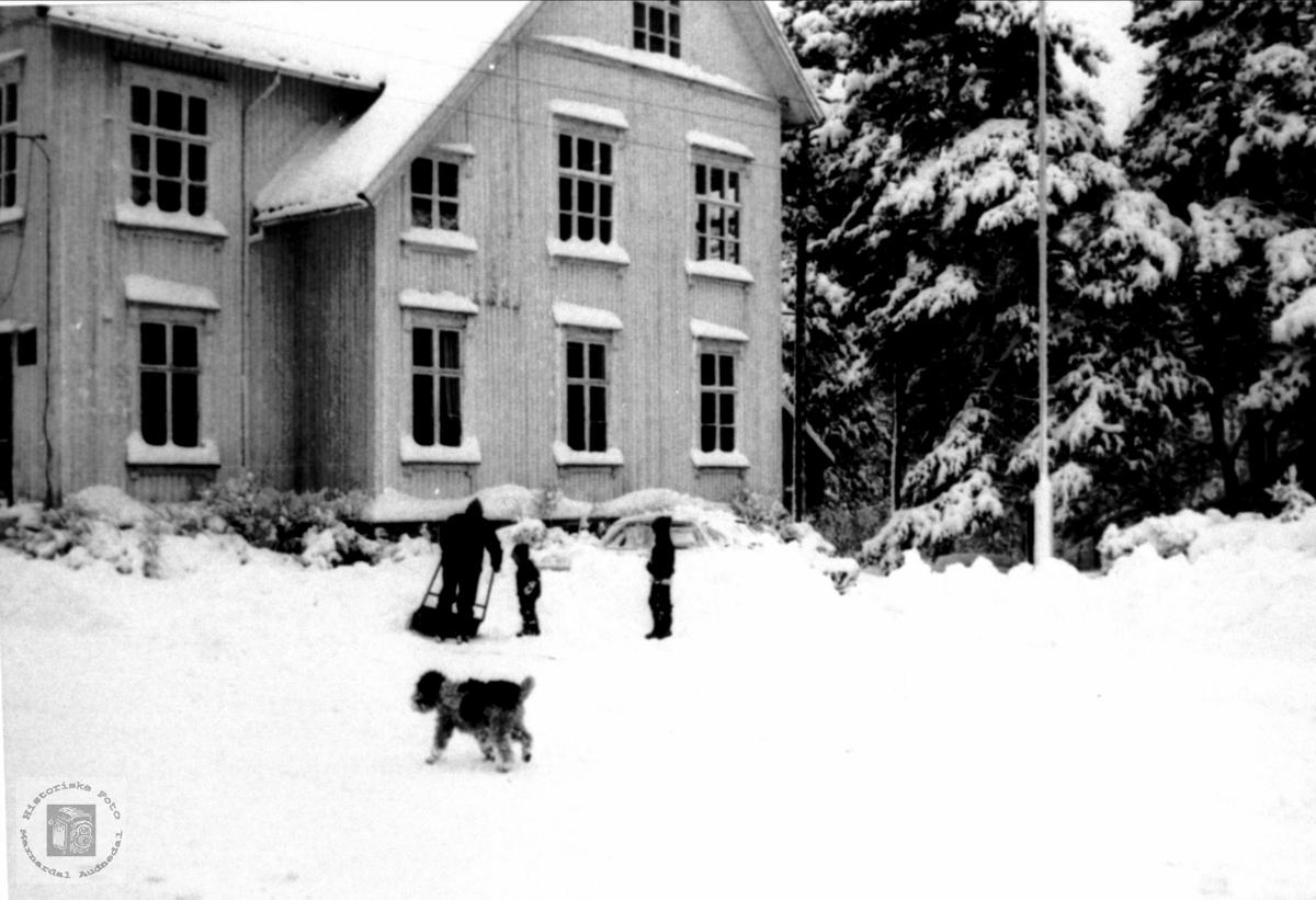 Snørydding heradshuset på Bjelland med handemakt.