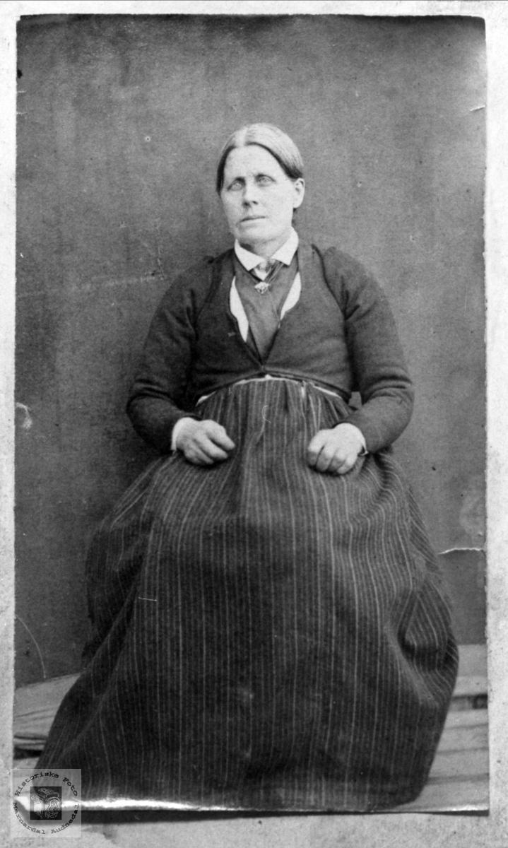 Portrett av Ingeborg Skjeggestad, Bjelland. Melding fra bruker, juni 2016: Fotografiet har også blitt registrert av Anna Grostøl og finnes i samlingen til Norsk Folkemuseum. Det har nr. NF.13554-015. Der er avbildet person, Ingeborg Skjeggestad, sikker.