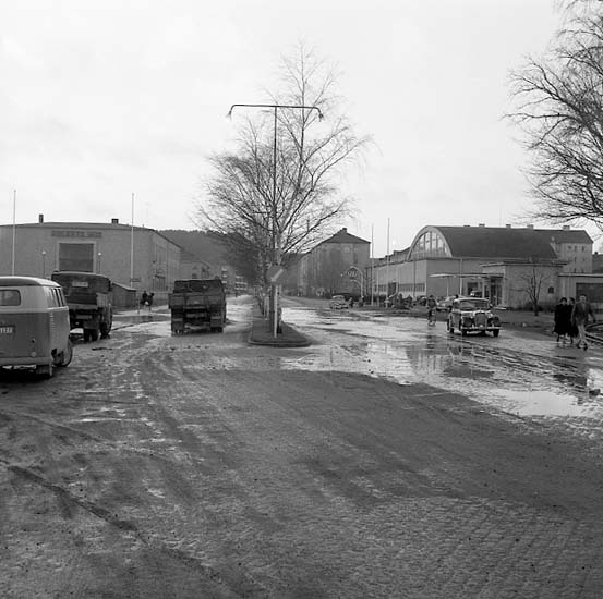 Översvämning Göteborgsvägen Uddevalla 1957