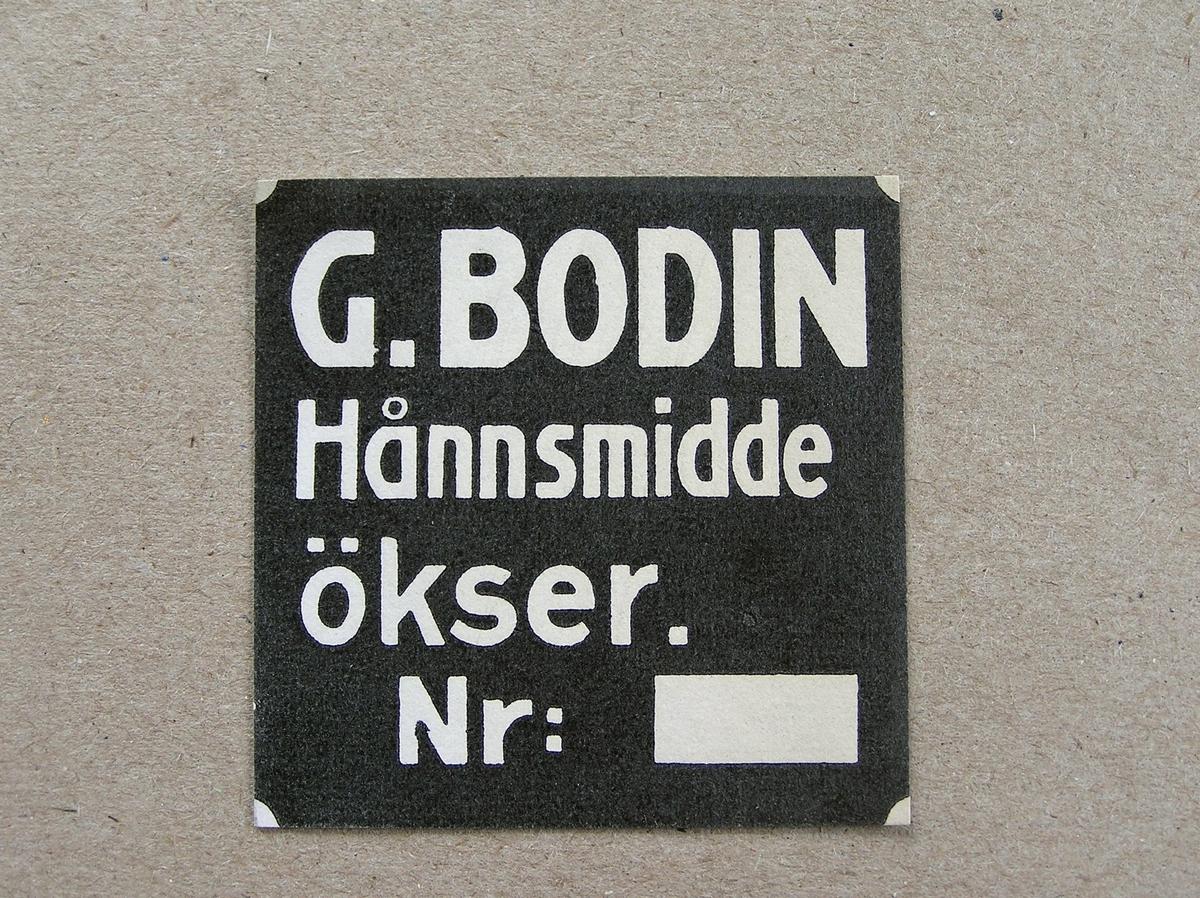 6 stk. merkelapper for G. Bodin - øksesmie.