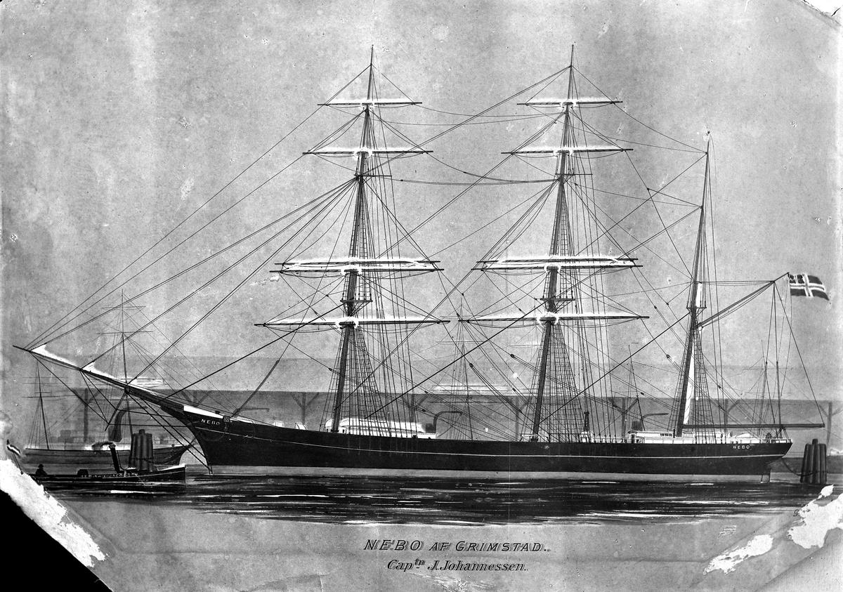 Seilskuta Nebo av Grimstad. Seilt av kaptein J. Johannesen