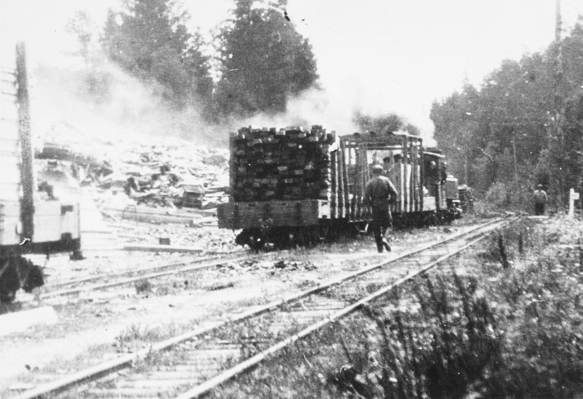 Ved- og plankelagre venter på transport, trolig under krisen i 1918. Lok 3 Høland, vogn No..,No..
