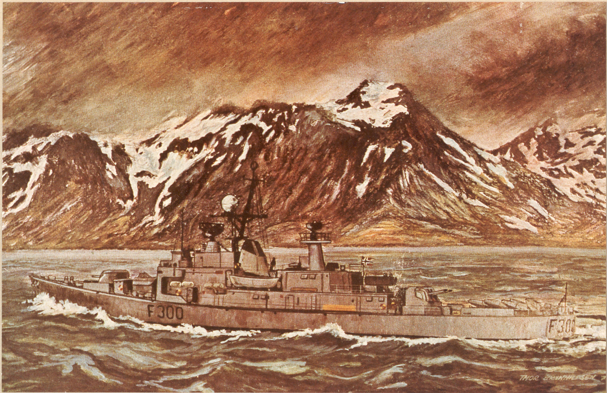 Fregatten KNM Oslo, foto av maleri i nordnorsk farvann
