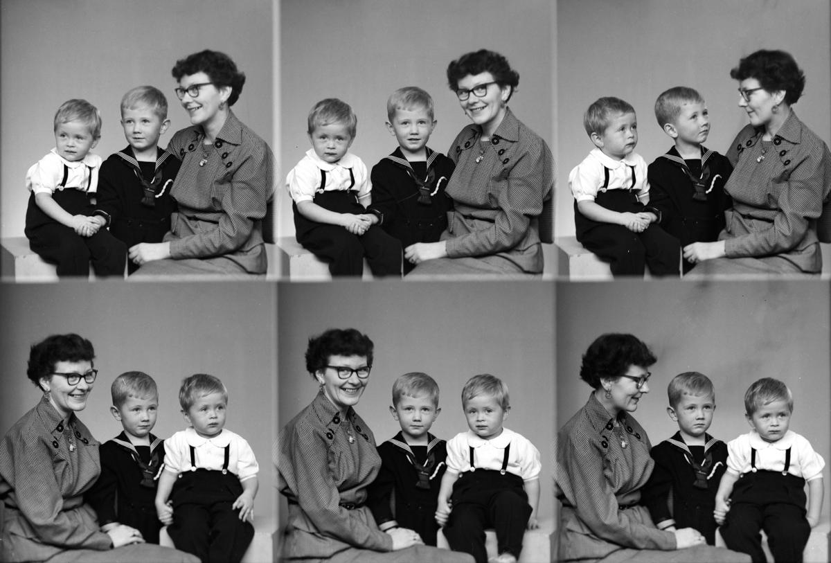 Bratseth Kirsten, familie gruppe, mor og barn. Gutt.  Bilde er tatt 3/12-1954. Kirsten Bratseth med sønner Ola og Tore  Serie av Tore Bratseth.